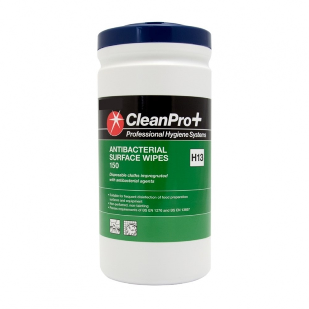 CleanPro+ Surface Wipes Anti-Bacterial - 150 wipes in tub