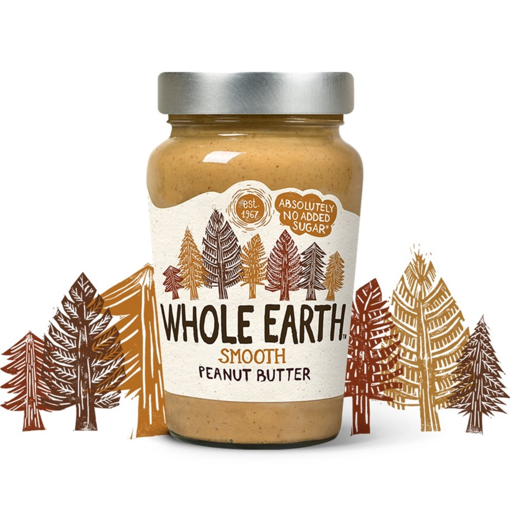 Whole Earth Peanut Butter SMOOTH - 340g glass jar
