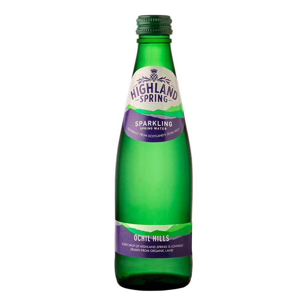 Highland Spring Sparkling Water - 24x330ml glass bottles