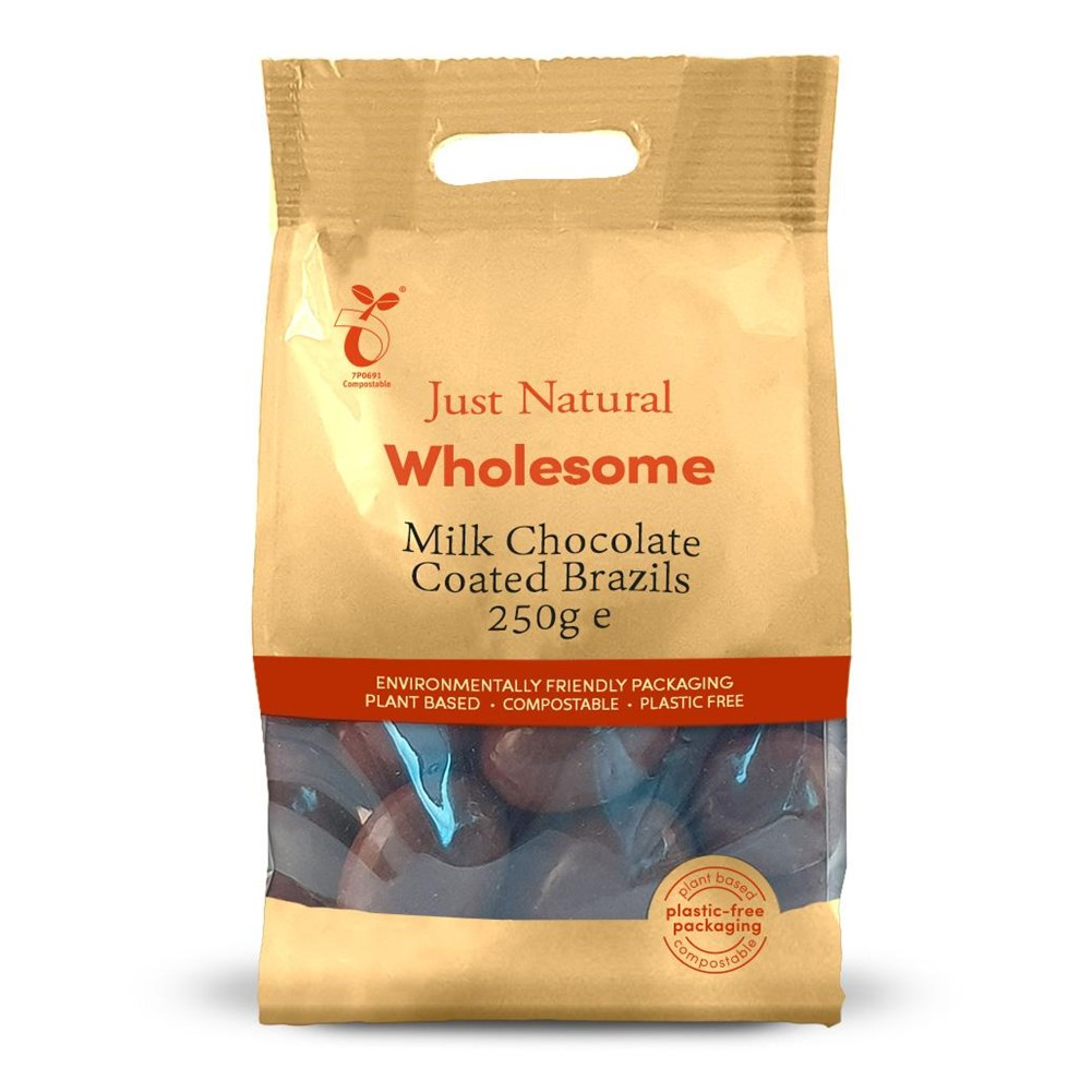 Just Natural Brazil Nuts Milk Chocolate Coated - 250g bag
