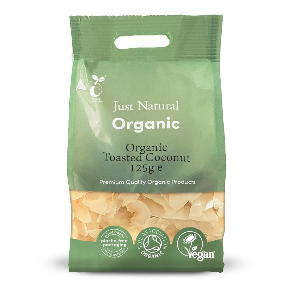 Just Natural Coconut Chips Toasted - 125g bag [ORG] BEST BEFORE 13/12/20