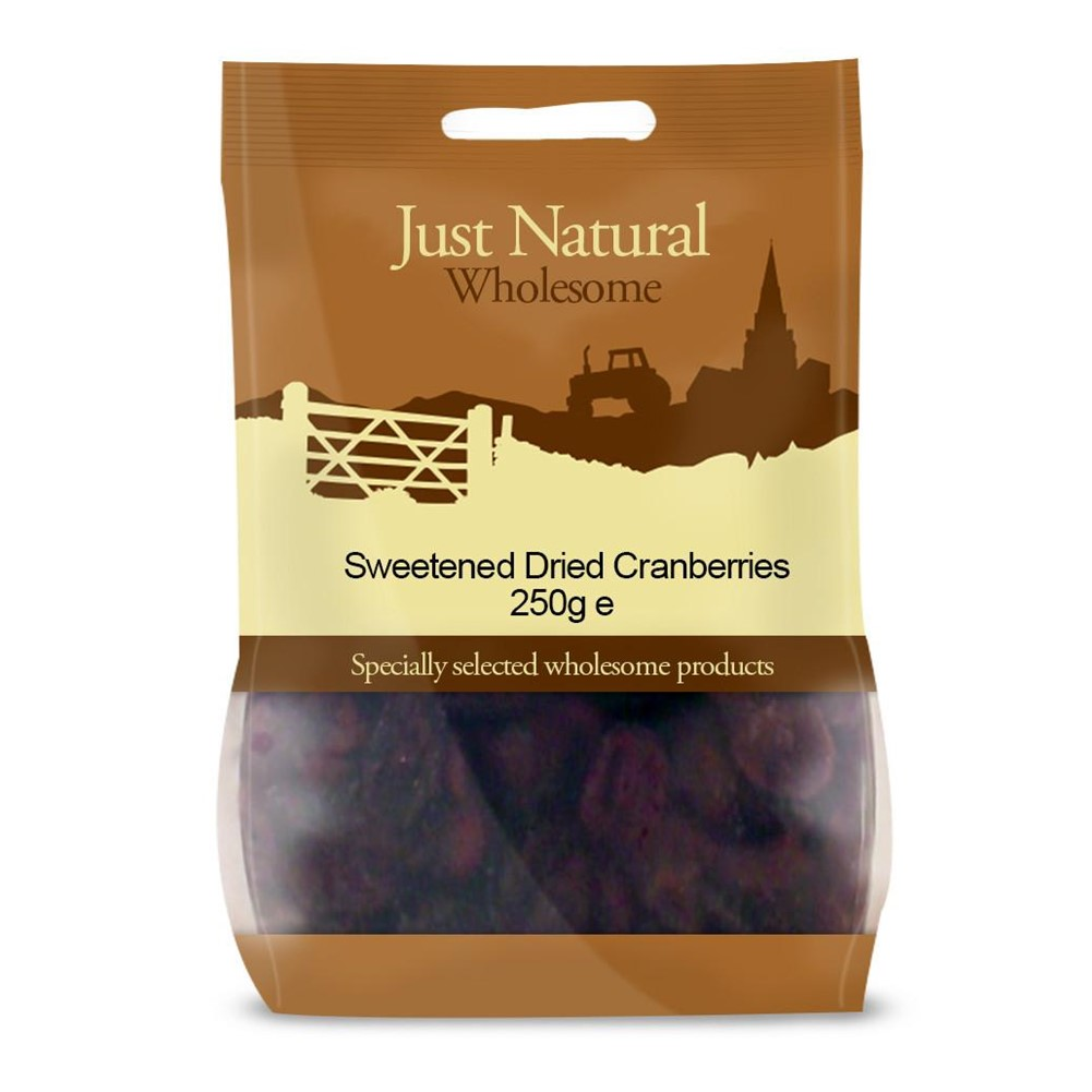 Just Natural Cranberries - 250g bag BEST BEFORE 12/12/20