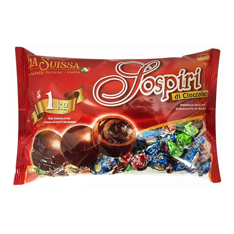 La Suissa Sospiri Di Cioccolato [Alla Crema] - 1kg bag [c.91 individually wrapped]