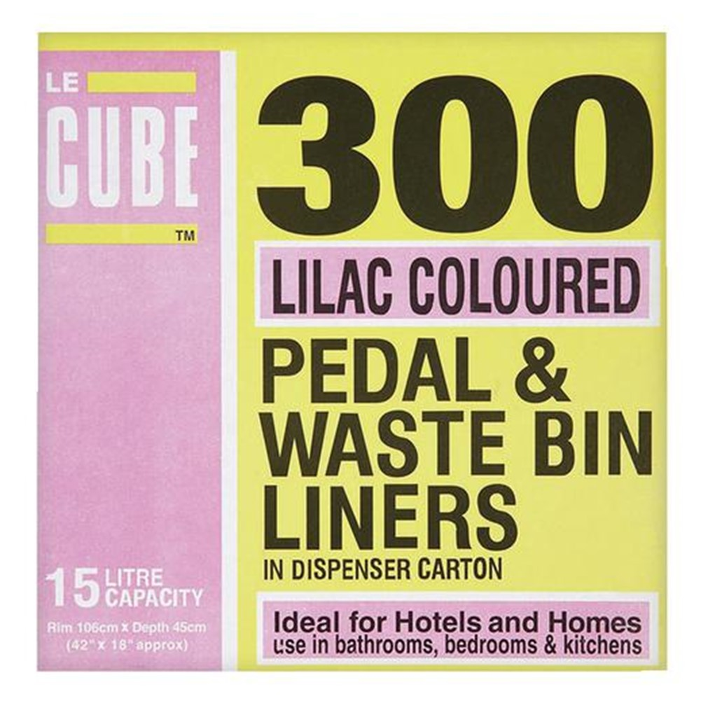 RY Cube Of Pedal Bin Liners [Lilac] - 300x15L liners
