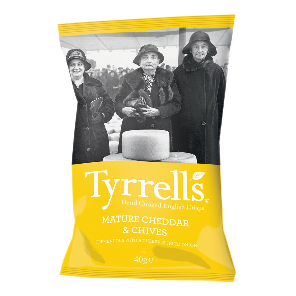 Tyrrells CRISPS Cheddar & Chive - 24x40g packets